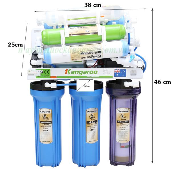 kích thước máy lọc nước kg109 không tủ