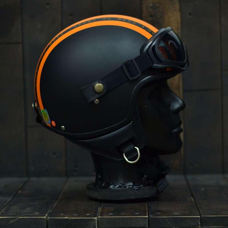 Mũ bảo hiểm 3/4 Andes 103D RIDE Đen/Cam Nhám  3