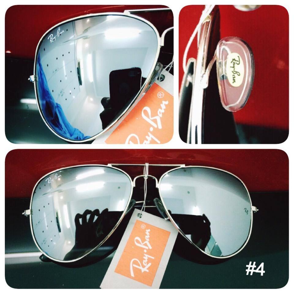 Mắt kính RayBan tráng gương bạc gọng bạc 3