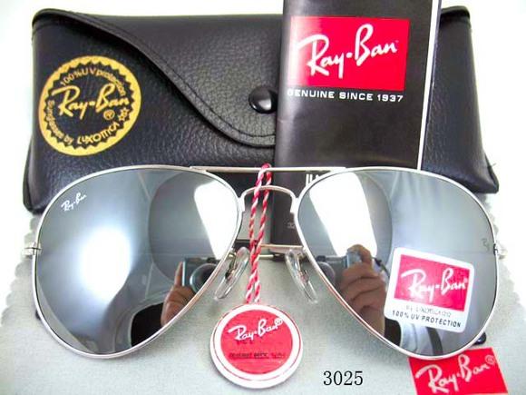 Mắt kính RayBan tráng gương bạc gọng bạc 2