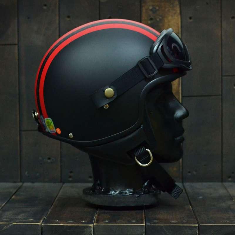 Mũ bảo hiểm 3/4 Andes 103D RIDE Đen/Đỏ Nhám 3