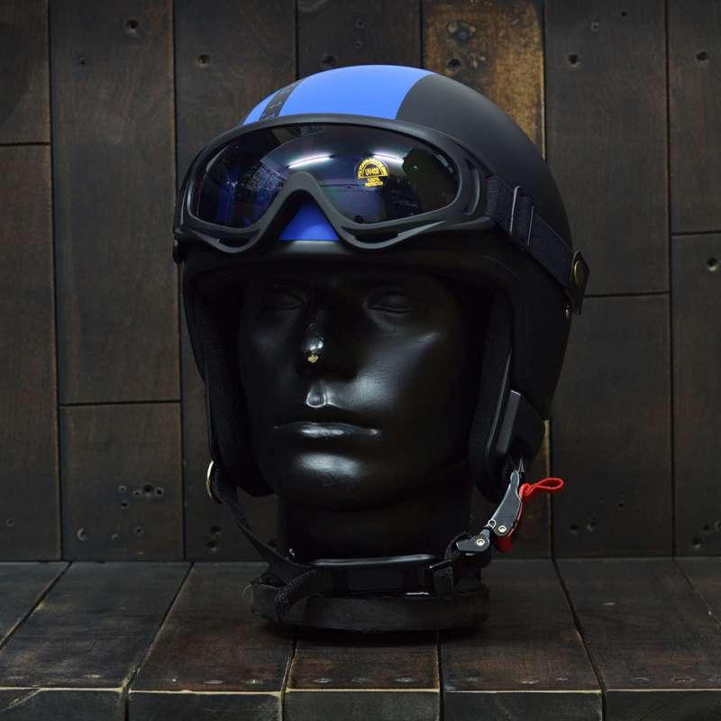 Mũ bảo hiểm 3/4 Andes 103D RIDE Đen/Xanh Dương Nhám 1