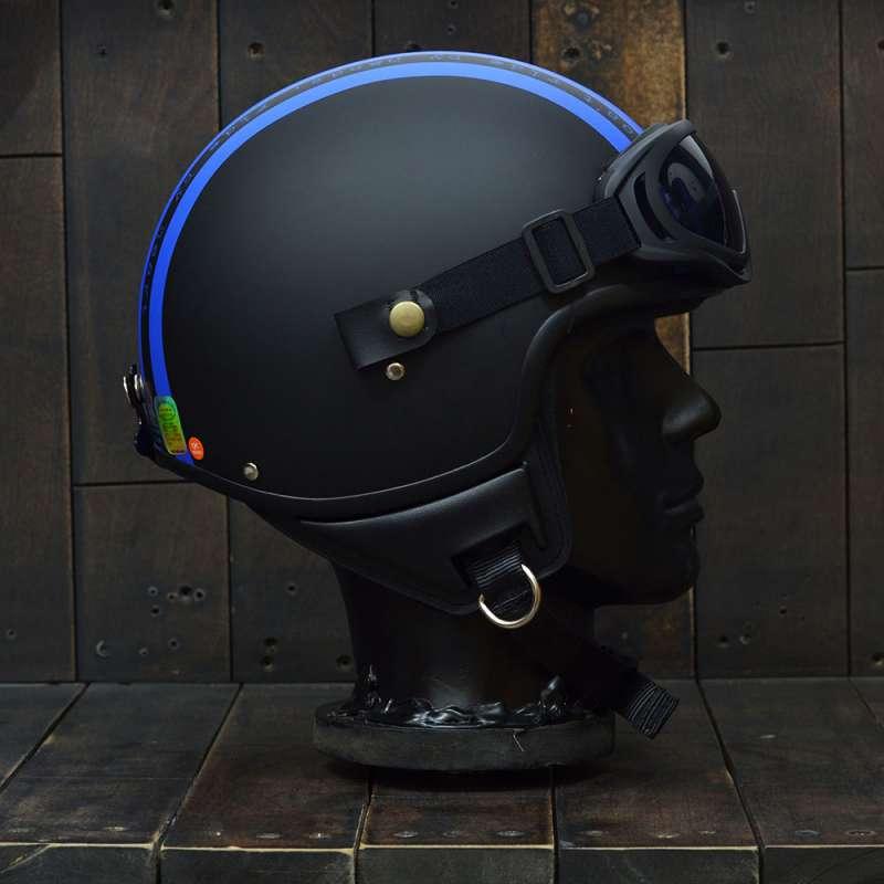 Mũ bảo hiểm 3/4 Andes 103D RIDE Đen/Xanh Dương Nhám 3