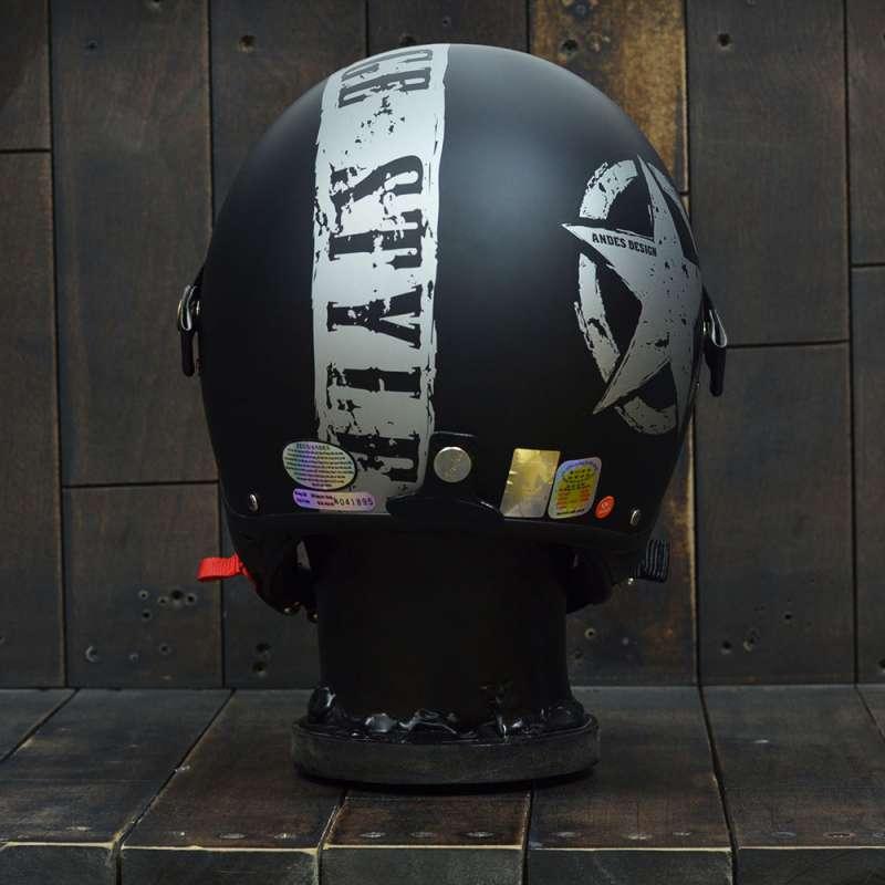 Mũ bảo hiểm 3/4 Andes 103D VINTAGE Đen/ Bạc Nhám 2