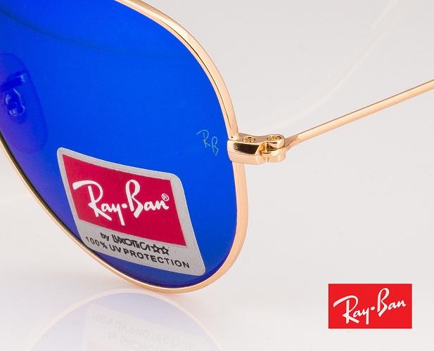 Mắt kính RayBan tráng gương xanh nước biển gọng vàng 2