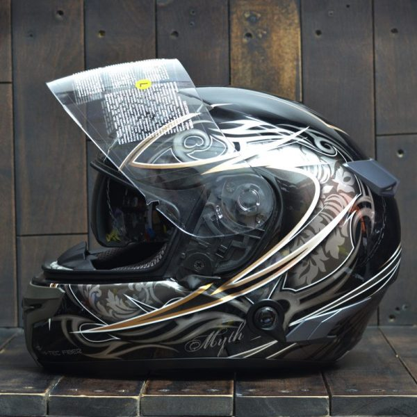 Mũ Bảo Hiểm Zeus 1200A Đen/ Bạc/ Gold  2