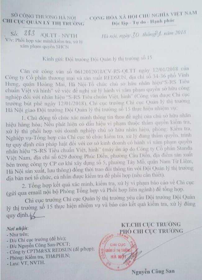 Công văn xử lý việc sâm phạm nhãn hiệu của Phó Chi Cục Quản Lý Thị Trường Hà Nội với Công ty Cổ phần Standa Việt Nam