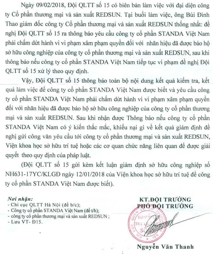 Đội Quản Lý Thị Trường số 15 ra công văn yêu cầu Công ty Cổ phần Standa Việt Nam_trang2