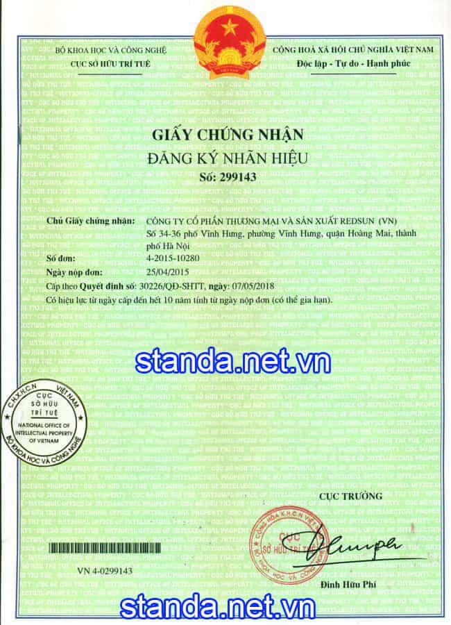 Giấy chứng nhận đăng ký nhãn hiệu trên ổn áp Standa số 299143 cấp bởi Cục Sở Hữu Trí Tuệ (trang1)