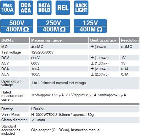 Ampe kìm AC/DC kết hợp đo điện trở cách điện Sanwa DG34a