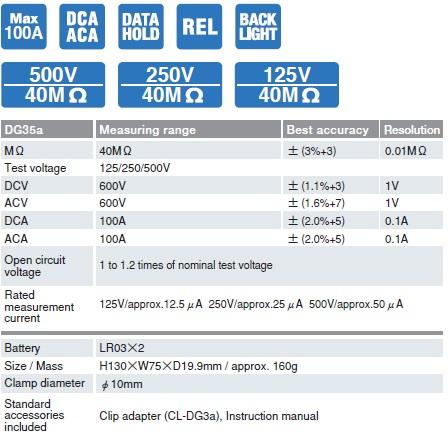 Ampe kìm AC/DC kết hợp đo điện trở cách điện Sanwa DG35a