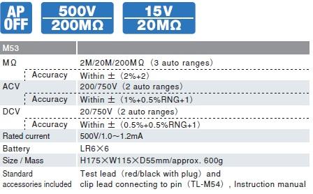 Đồng hồ đo điện trở cách điện megaohm Sanwa M53
