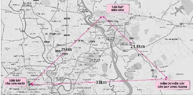 Khoảng cách giữa ba sân bay: Tân Sơn Nhất, Biên Hòa và Long Thành - Ảnh: Google Map