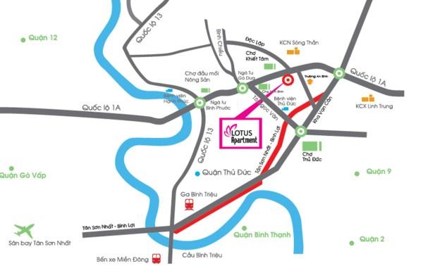 Sở đồ vị trí căn hộ lotus apartment - căn hộ Sen hồng