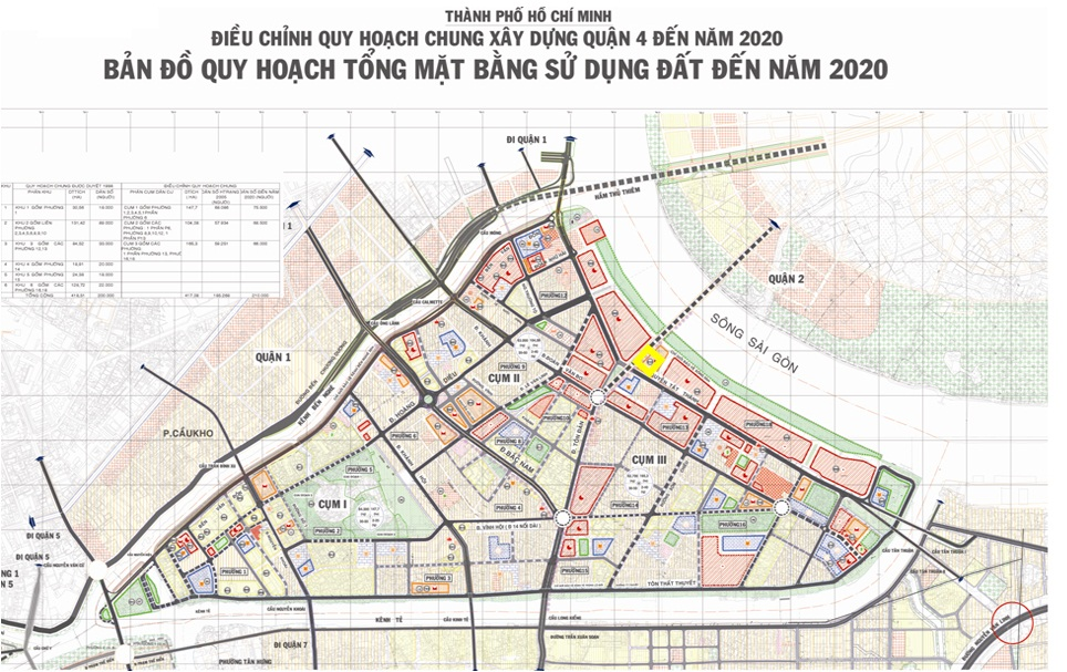 Quy hoạch mặt bằng sử dụng đất đến 2020 của quận 4 - TP.HCM