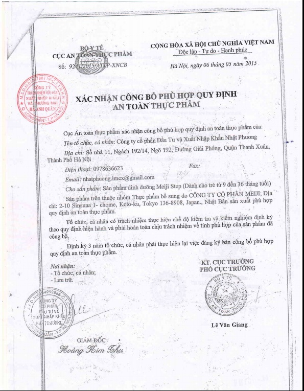 giấy chứng nhận sữa meiji 1-3