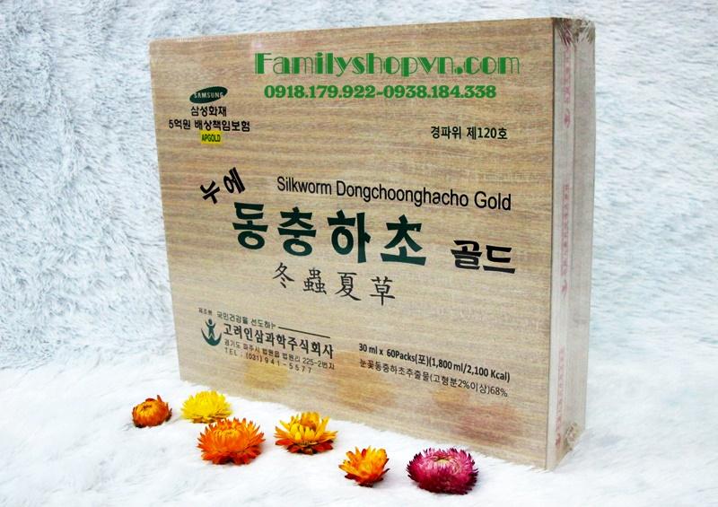 Nước đông trùng hộp gỗ 60 gói bio