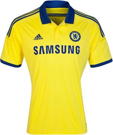 Quần áo bóng đá Chelsea vàng sân khách 2014/15
