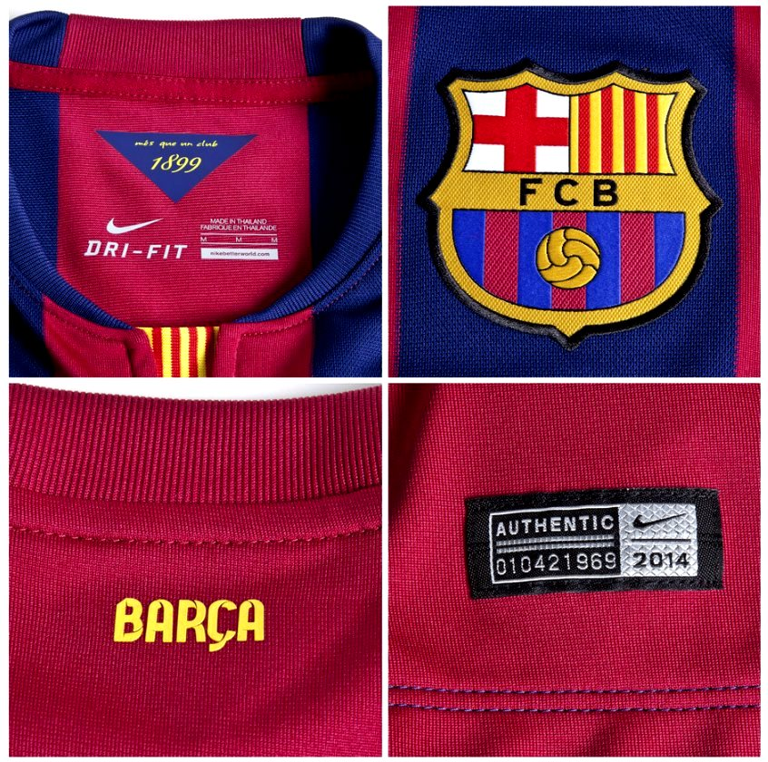 Quần áo bóng đá trẻ em Barca sân nhà 2014 logo
