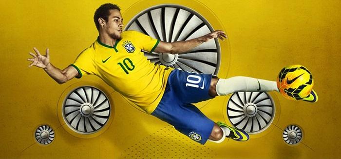 Quần áo bóng đá Brazil sân nhà vàng 2014