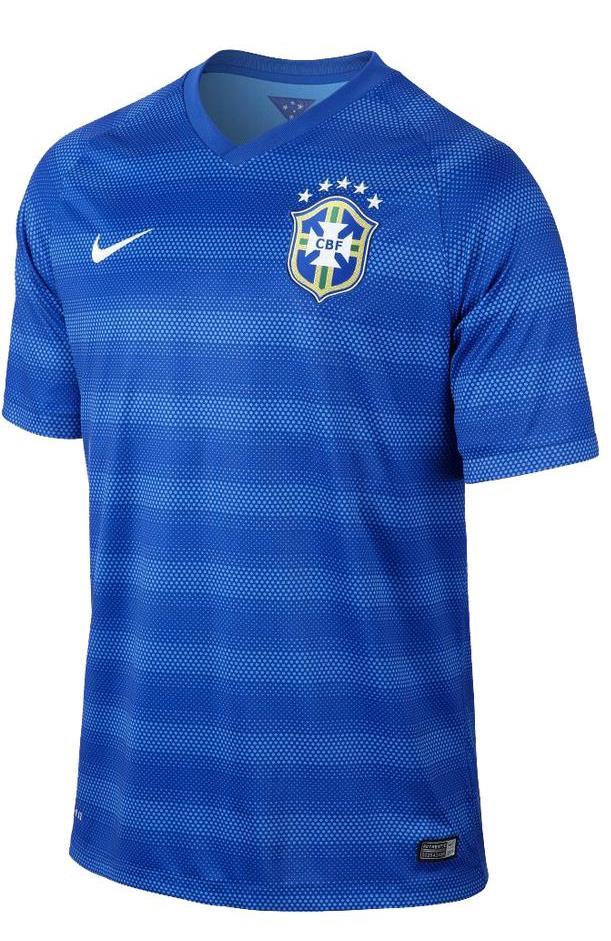 Quần áo bóng đá Brazil sân khách xanh 2014