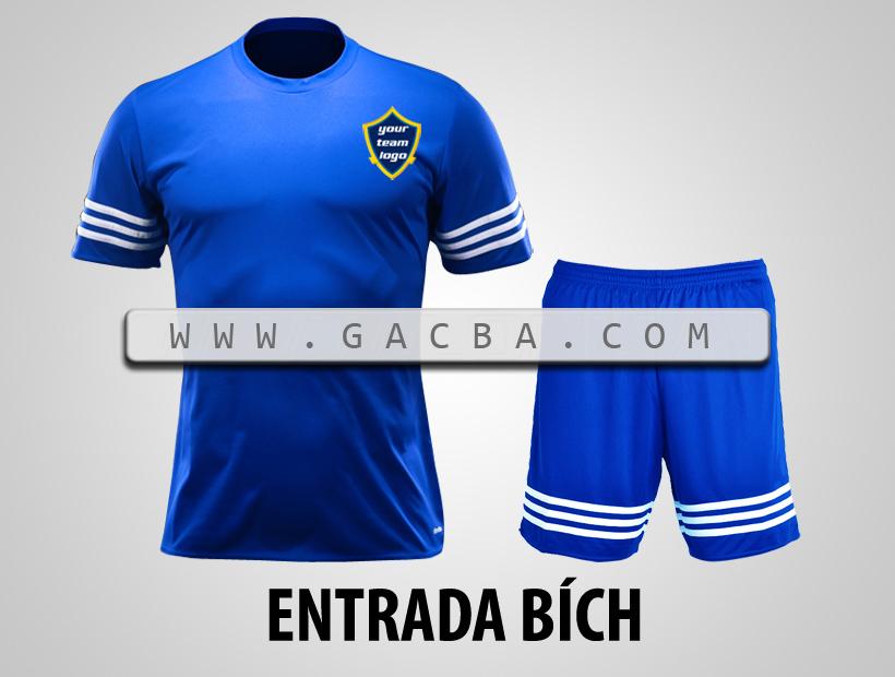 áo bóng đá không logo Entrada xanh