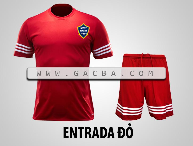 áo bóng đá không logo Entrada đỏ