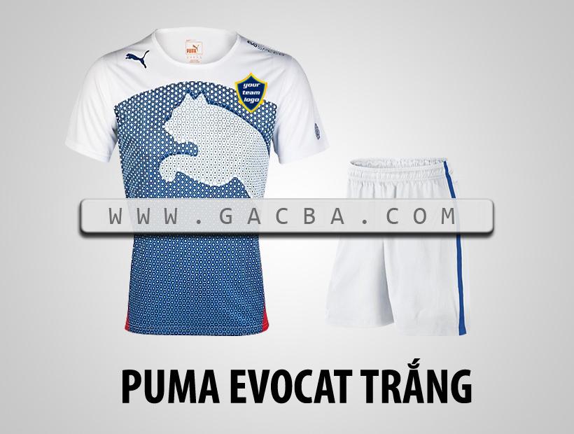 áo bóng đá không logo Puma Cat trắng