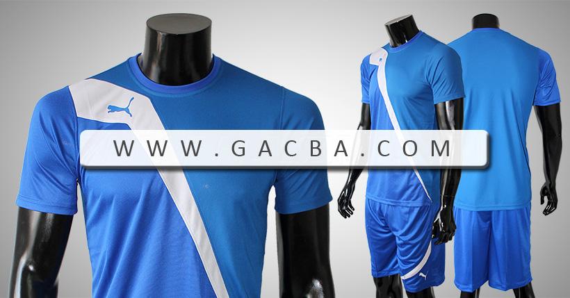 Bộ bóng đá không logo Puma Tia Chớp xanh