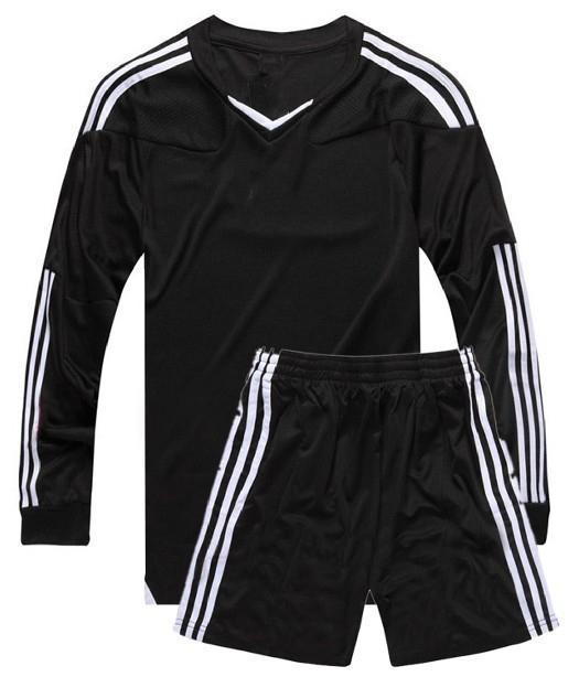 Quần áo bóng đá dài tay không logo đen 2015