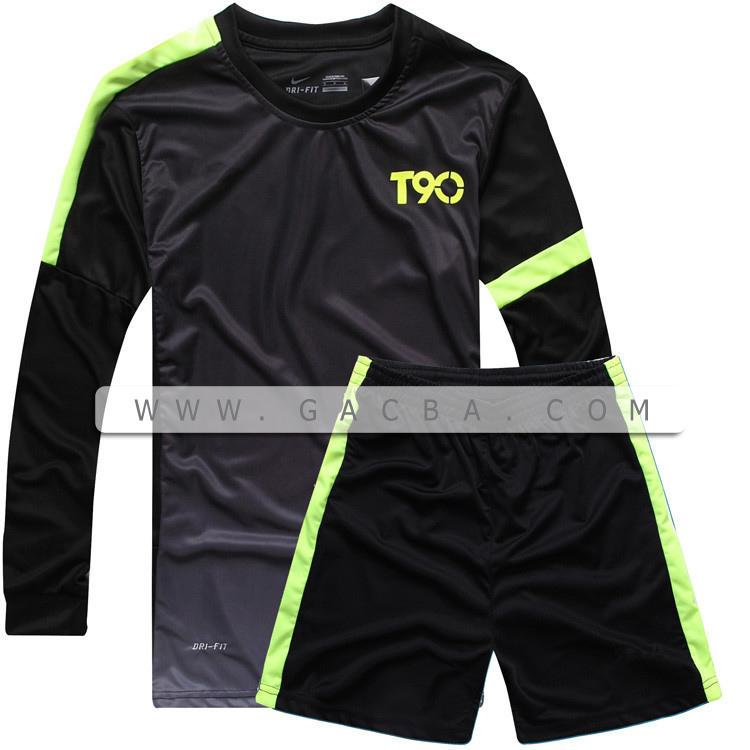 Quần áo bóng đá dài tay không logo T90 đen 2015