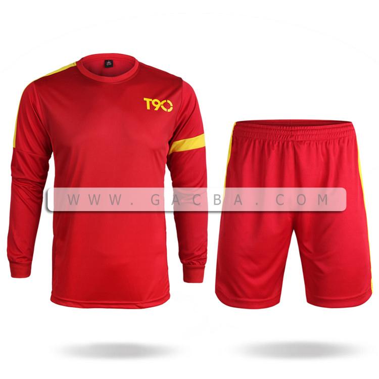 Quần áo bóng đá dài tay không logo T90 đỏ 2015