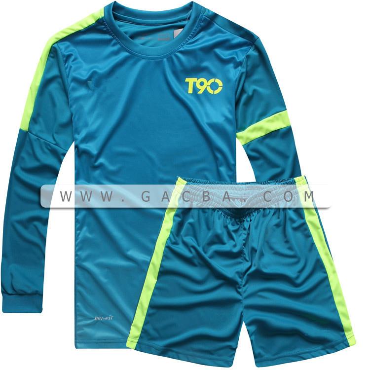 Quần áo bóng đá dài tay không logo T90 xanh 2015