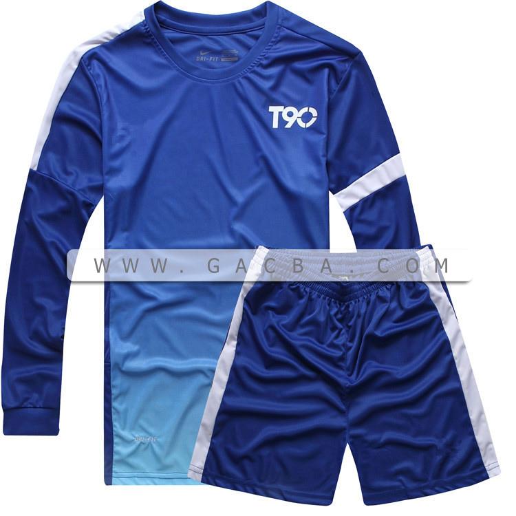 Quần áo bóng đá dài tay không logo T90 dương 2015