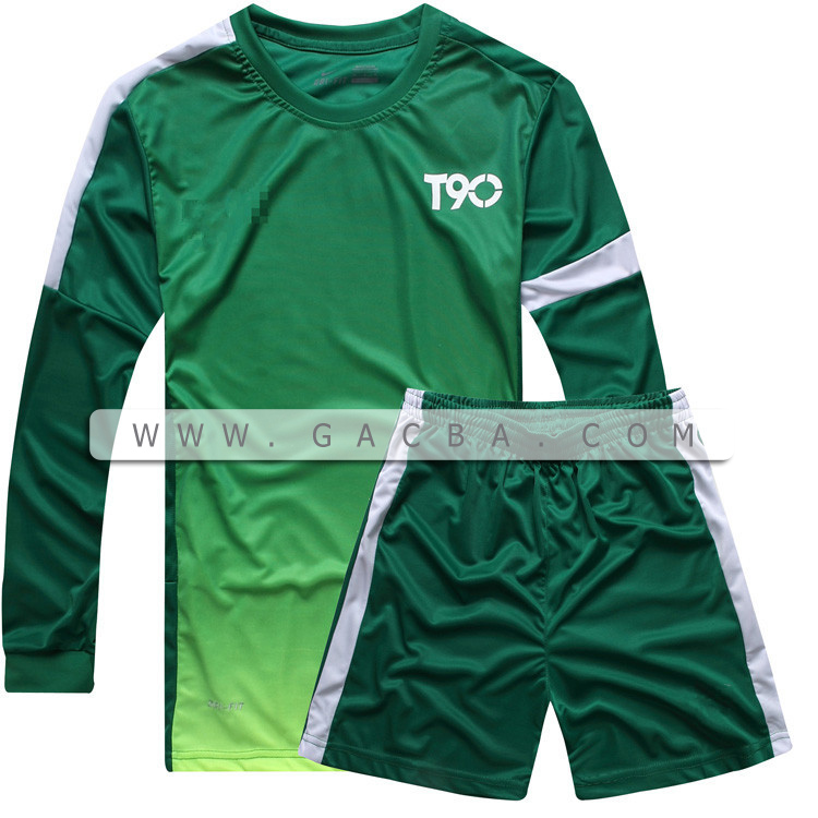Quần áo bóng đá dài tay không logo T90 lá cây 2015