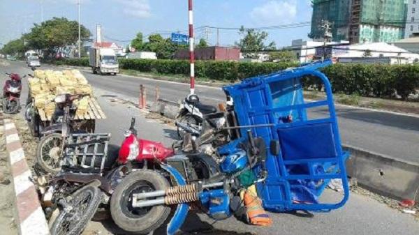 nguy hiểm khi lái xe lôi chở hàng