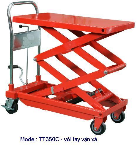 xe nâng mặt bàn 350kg, tt350, xe nâng bàn