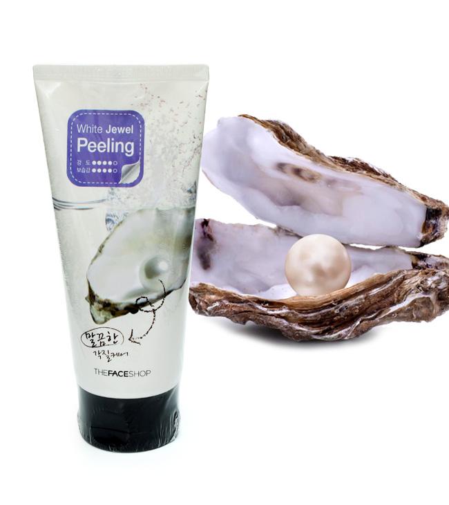 Kết quả hình ảnh cho Tẩy da chết ngọc trai White Jewel Peeling The Face Shop