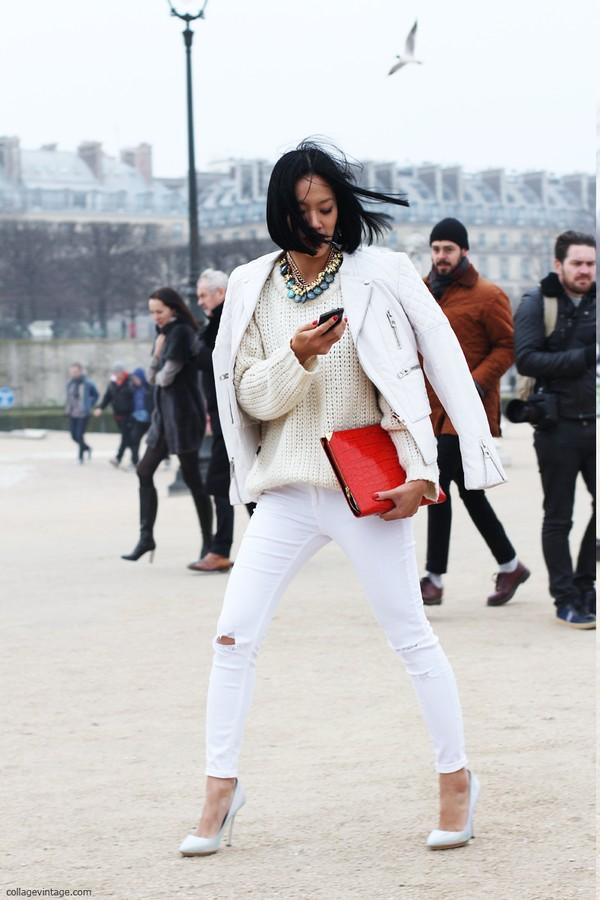 Trang phục màu trắng vẫn sẽ nổi bật và ấm áp trong mùa đông
