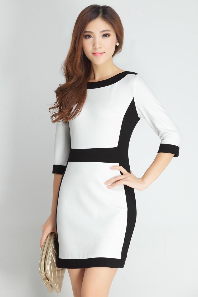 Đầm công sở đen trắng tôn dáng bạn gái