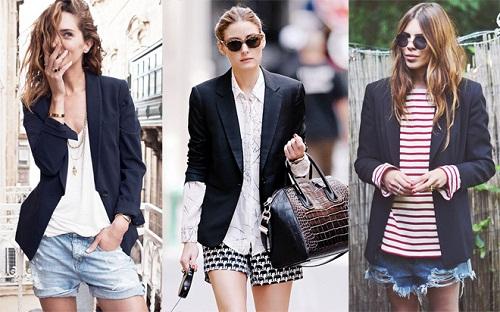 Cách phối quần Jean ngắn với áo Blazer đẹp