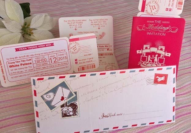 thiệp cưới passport hồng