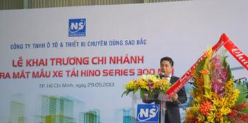 Ông Lê Quốc Huy- Tổng giám đốc Sao Bắc phát biểu khai mạc tại buổi lễ và phác thảo đôi nét về sự hình thành và phát triển của công ty