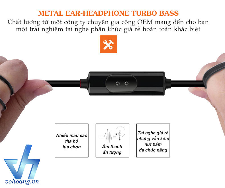 Tai nghe Metal Ear-Headphone Turbo Bass
