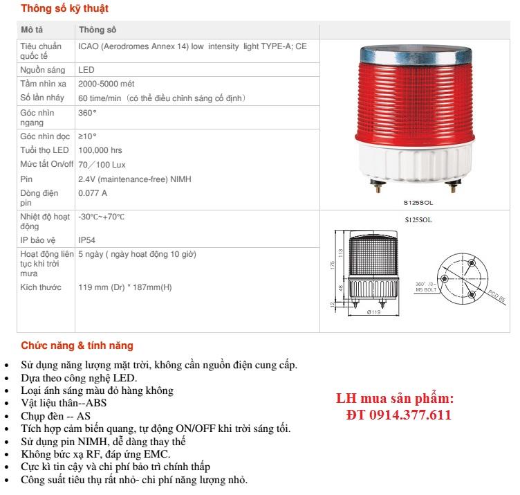 Thông số kỹ thuật đèn báo không - GAC