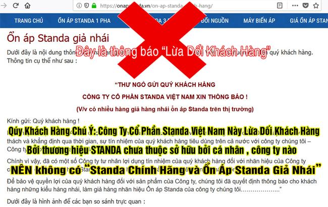 Công Ty Cổ Phần Standa Việt Nam Lừa Dối Khách Hàng