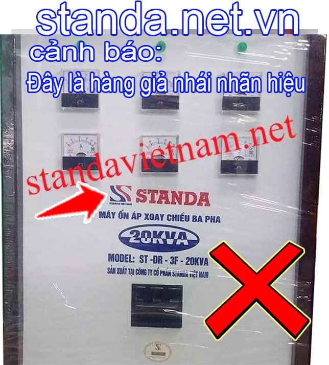 Đây là Ổn áp Standa 20kVA giả nhái nhãn hiệu do Công ty Cổ phần Standa Việt Nam sản xuất trái pháp luật