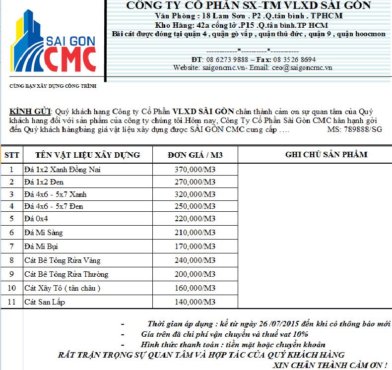 Bảng báo giá cát bê tông rửa - VLXD Sài Gòn CMC