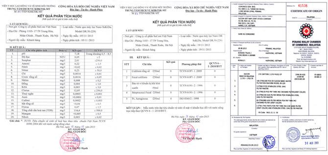 giấy chứng nhận chất lượng cho máy lọc nước Nano Dr SUKIDA