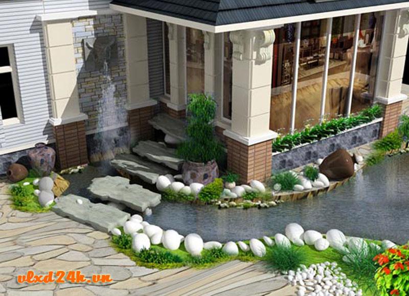 Sử dụng đá tự nhiên ốp lát sân vườn